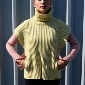 FANO svetr  žebrovaný bez rukávů s kapsami