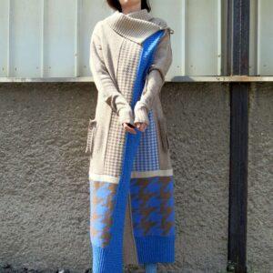 TÝNA pončokabát / vícebarevný patchwork