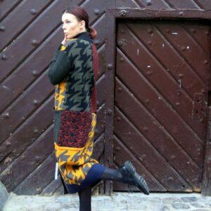 VITKA barevný pletený kabát s patentem / dolní lem