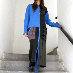 VITKA pletený kabát / vícebarevný patchwork