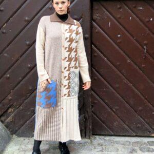 VITKA XL- pletený kabát / vícebarevný patchwork