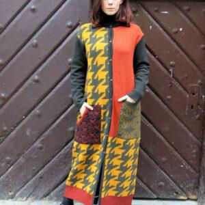 VITKA-pletený kabát/vícebarevný patchwork