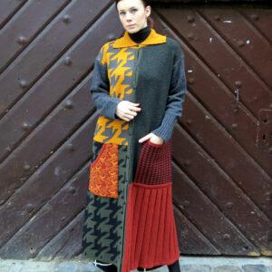 VITKA vel.L-pletený kabát / vícebarevný patchwork