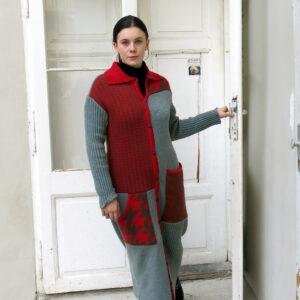 VITKA pletený kabát zelenočervený
