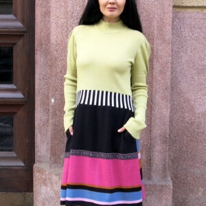 NORA 2-dress with striped skirt