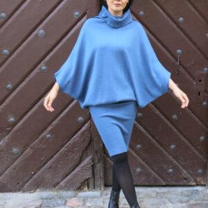 YANY-pletené šaty kimonové modré