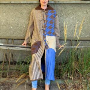 VITKA-pletený kabát/vícebarevný patchwork s plisé