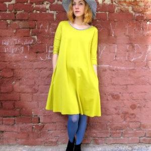 Máry - šaty s kapsami žluté